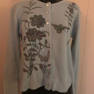 FREE PEOPLE Blue Floral Butterfly Sweater VGC L